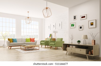 Modern living room interior with sofa, armchairs, scandinavian style 3d rendering