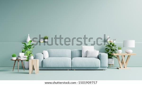 Modern Living Room Interior Sofa Green Stock Illustration 1501909757