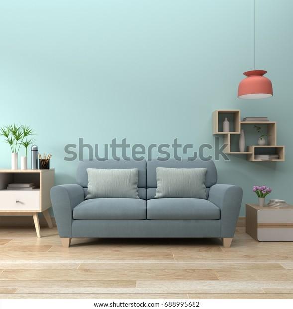 Modern Living Room Interior Sofa Lamp Stockillustration ...