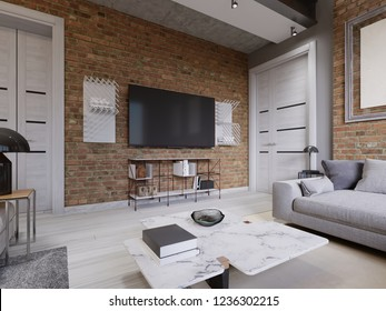 Modern living room interior, tv mounted on brick wall with black screen. 3d rendering