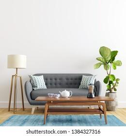 Modern Living Room Interior Wall Mockup - 3d Illustration, 3d Rendering