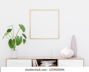 Modern living room interior with a wooden dresser, a square poster mockup and a green plant, 3D render