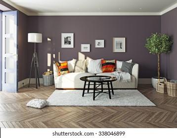 modern living room  interior.3d design concept