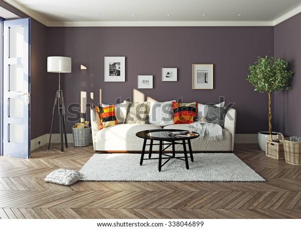 Modernes Wohnzimmerinnere.3Design-Konzept