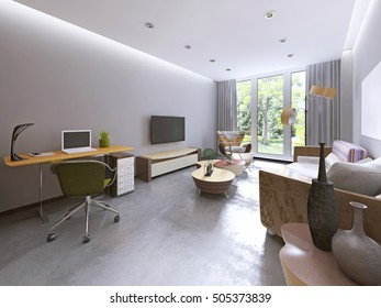 Modern living room in kitsch style, with TV unit, bookcase and work space. 3D render.