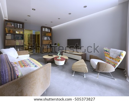 Modern Living Room In Kitsch Style, With TV Unit, Bookcase And Work Space.