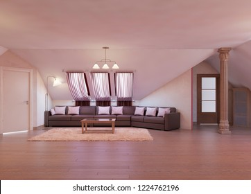 Modern living room with a large corner sofa on the massandra in burgundy and white. 3D rendering.