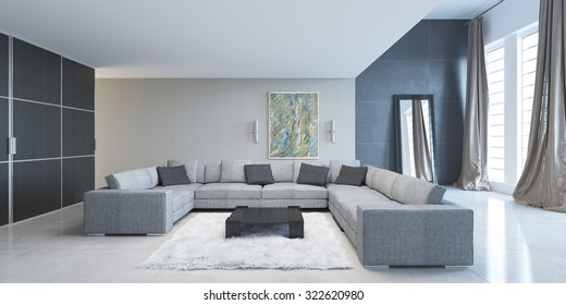 Modern living room with large sofa