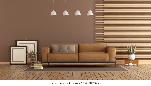 Modern Living room with leather sofa , wooden paneling and brown wall - 3d rendering