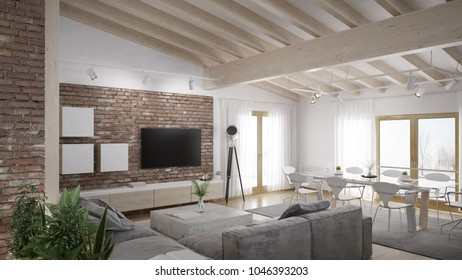 Modern living room loft with wooden ceiling - 3 D rendering (using 3 d s Max)