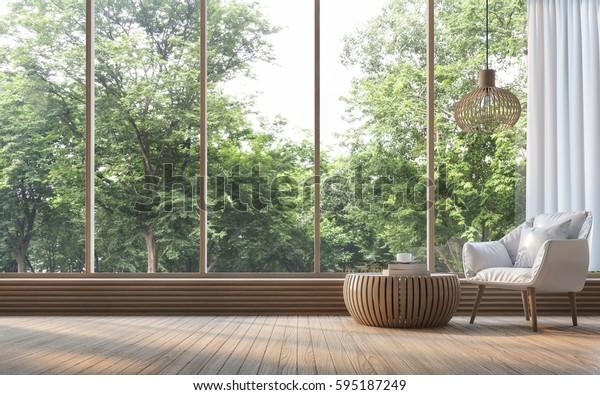 Современная гостиная с видом на природу 3d рендеринга изображения. Есть украшение комнаты деревом. Есть большое окно с видом на окружающую природу и лес