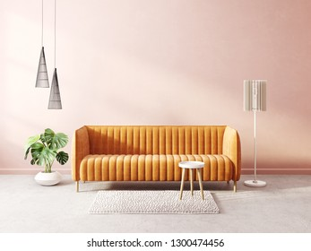 modern living room  with orange sofa and lamp. scandinavian interior design furniture. 3d render illustration