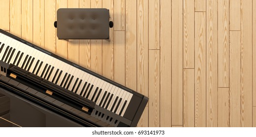 Modern living room - Perspective - above / top view - piano on wooden floor / 3d render