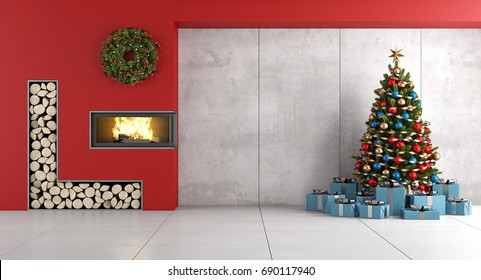 Modern living room with red fireplace , christmas tree and gif box- 3d rendering