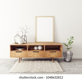 modern living room. scandinavian interior design furniture. 3d render illustration