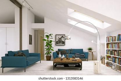 modern living room. Scandinavian interior design. 3d rendering concept