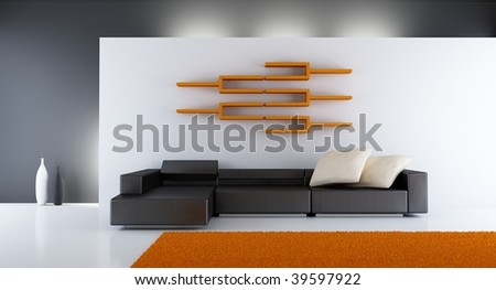 Merveilleux Modern Living Room Setting   Couch, Rack And Carpet