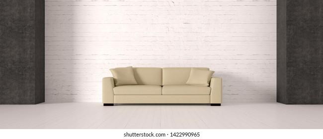 modern living room with sofa - 3D Illustration