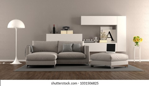Modern living room with sofa and bookcase on background - 3d rendering