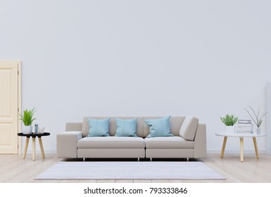 Modern living room with sofa and Decoration have back white wall,3D rendering
