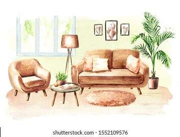 Modern living room with sofa and furniture. Watercolor hand drawn illustration
