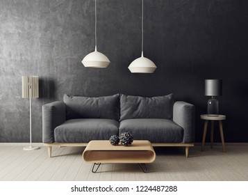 modern living room  with sofa and lamp. scandinavian interior design furniture. 3d render illustration