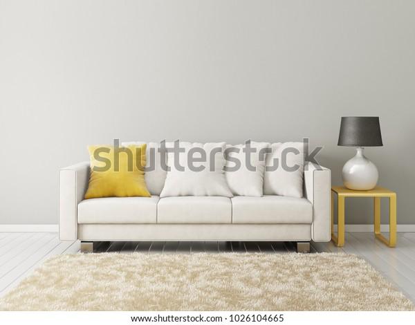 Modern Living Room Sofa Lamp Scandinavian Stockillustration ...