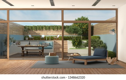 modern living room with sofa with old wooden table set in the garden - 3d rendering
