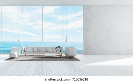 Modern Living room with sofa set concrete wall panorama sea view summer 3d rendering