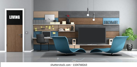 Modern living room with tv and workstation with laptop - 3d rendering