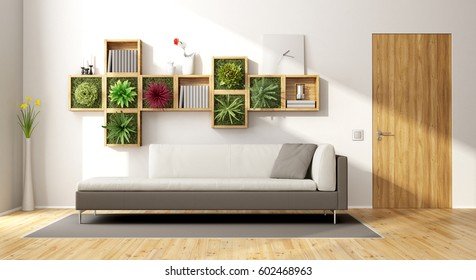 Modern living room with vertical garden,sofa and wooden door - 3d rendering