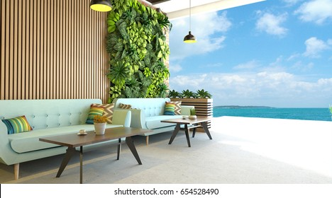 Modern living room with vertical green garden and outdoor overlooking blue sky natural background and the ocean-3d Render