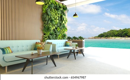 Modern living room with vertical green garden and outdoor overlooking tropical tree island and blue sky natural background-3d Render