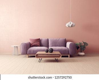 modern living room  with violet sofa  and lamp. scandinavian interior design furniture. 3d render illustration