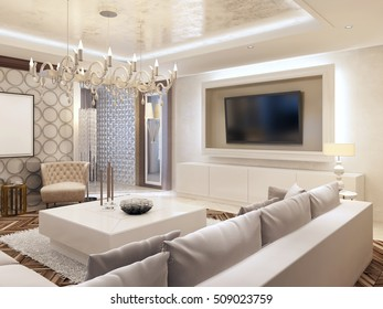 Modern living room in white colors with integrated storage for the TV. Large corner sofa and white coffee table. 3D render.