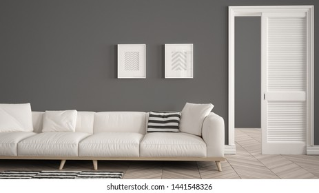 Modern living room with white sofa and carpet, dark wall background with open door, herrigbone parquet, template background with copy space, interior design concept idea, 3d illustration