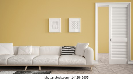 Modern living room with white sofa and carpet, yellow wall background with open door, herrigbone parquet, template background with copy space, interior design concept idea, 3d illustration
