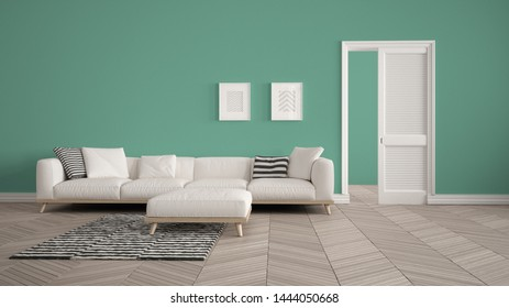 Modern living room with white sofa and carpet, turquoise wall background with open door, herrigbone parquet, template background with copy space, interior design concept idea, 3d illustration
