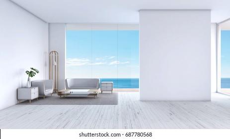 Modern Living room white wood floor sea view summer 3d rendering