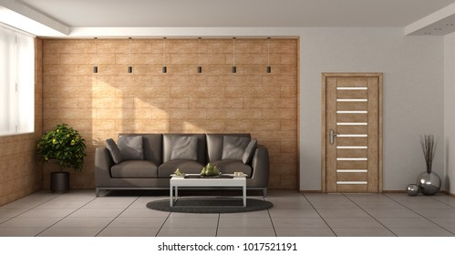 Modern living room with wooden walls, brown sofa and closed door - 3d rendering