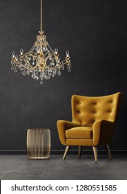 modern living room  with yellow armchair andgolden chandelier. scandinavian interior design furniture. 3d render illustration