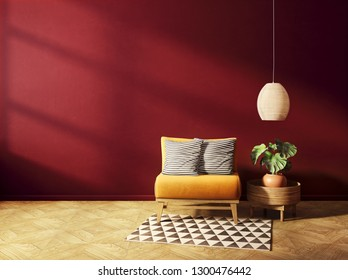 modern living room  with yellow armchair and red wall. scandinavian interior design furniture. 3d render illustration