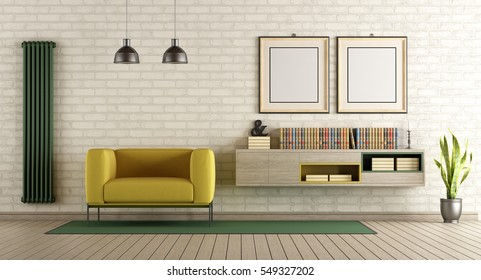 Modern living room with yellow armchair and sideboard on brick wall - 3d rendering