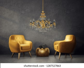 modern living room  with yellow armchairs and golden  lamp. scandinavian interior design furniture. 3d render illustration