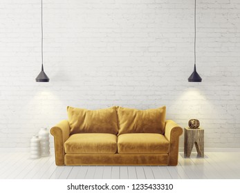 modern living room  with yellow sofa and lamp. scandinavian interior design furniture. 3d render illustration