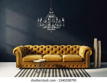 modern living room  with yellow  sofa and chandelier. scandinavian interior design furniture. 3d render illustration