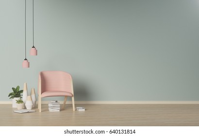 Modern Living room,interior  background,empty wall,3D rendering