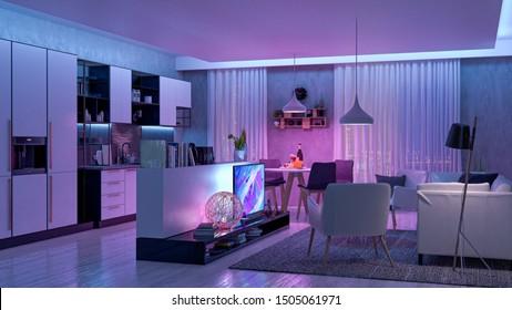 Modern Livingroom with colored led light - Smart home. 3D render