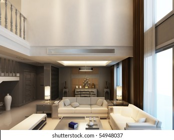 Modern living-room with the modern furniture