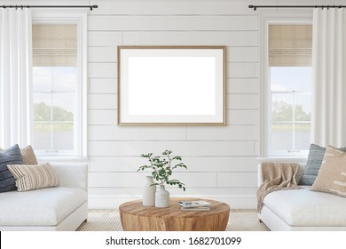 Modern living-room interior in coastal style. Interior and frame mockup. 3d render.